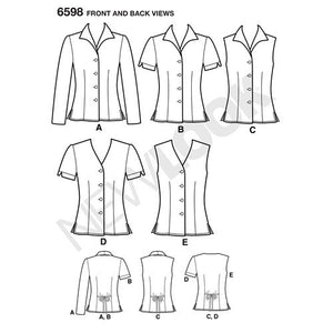 New Look Pattern 6598 Misses Tops