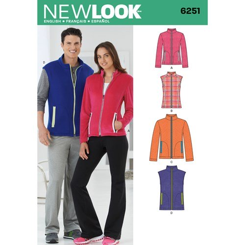New Look Pattern 6251 Misses' and Men's Jacket or Vest