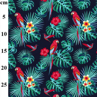Rose & Hubble Designs Tropical Parrot 100% Cotton Poplin Fabric