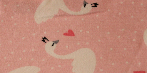 Pink Swans - 2 way stretch 100% Cotton Jersey - You've Got Me In Stitches