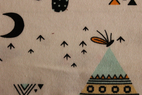Teepees, camping, moons - 2 way stretch 100% Cotton Jersey - You've Got Me In Stitches