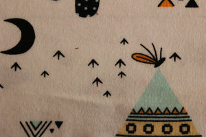 Teepees, camping, moons - 2 way stretch 100% Cotton Jersey