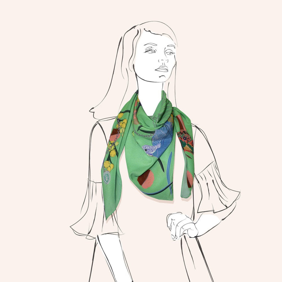 Silk Scarf - Lola Lime- a collaboration with Hokum