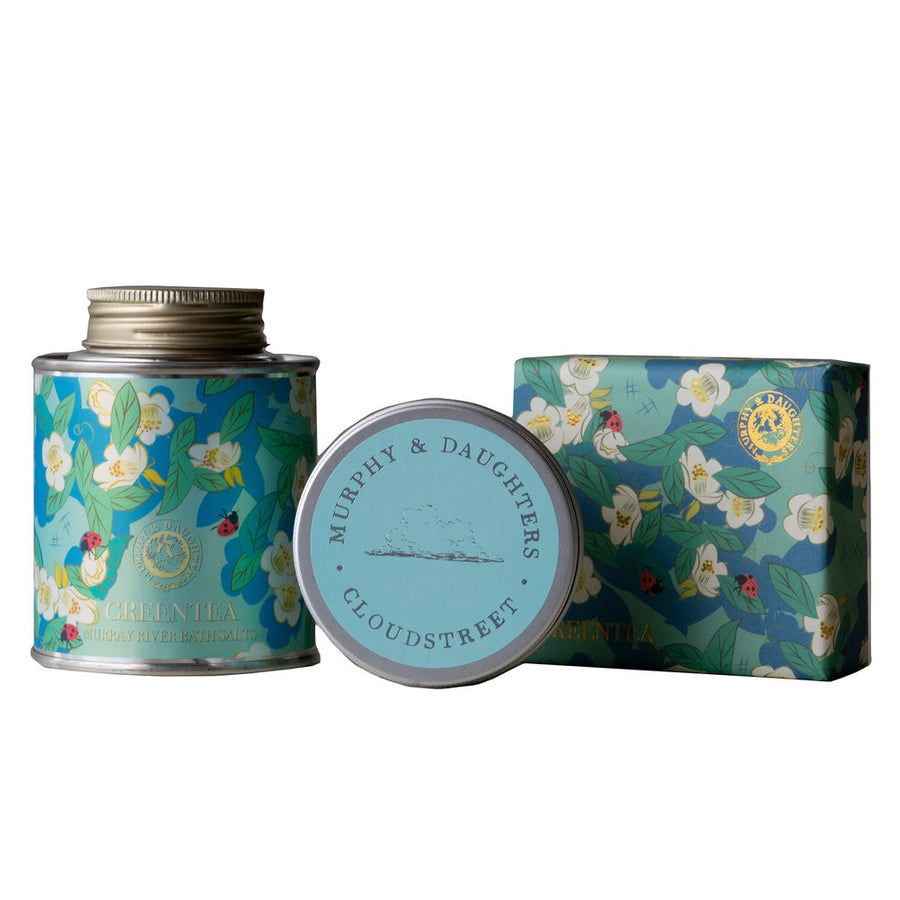 Gift Set of Bath Salt and Soap in Green Tea with a Cloudstreet travel candle