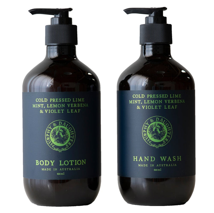 Hand wash & body lotion pair of 2 pumps - Cold Pressed Lime, Mint, Lemon Verbena and Violet Leaves