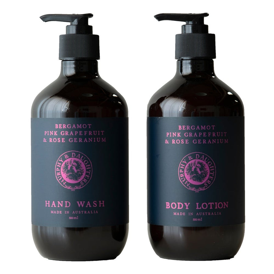 Hand wash & body lotion pair of 2 pumps - Bergamot, Pink Grapefruit and Rose Geranium