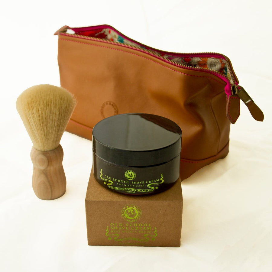 Shave Kit in a leather cosmetics bag