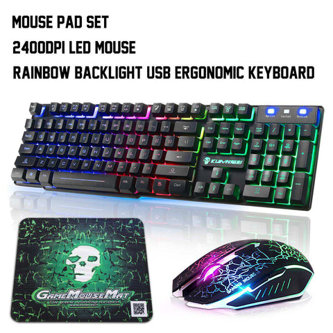 Colorful Backlight USB Teclado de Jogo Com Fio e Mouse Definir T6 LED 2400DPI Gamer