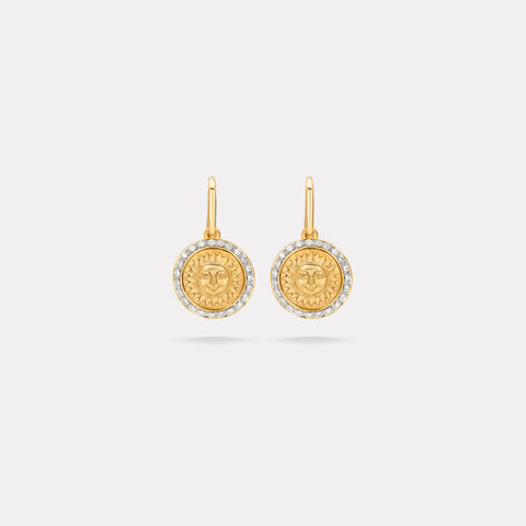 marinab.com, 18KYG 10mm Soleil Gold Diamond Pavé French Wire Earrings