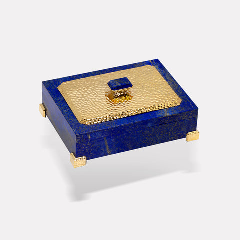 marinab.com, Lapis Box with Vermeil Hammered Lid