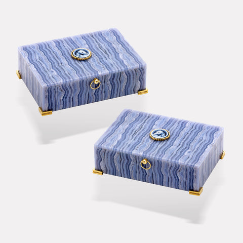marinab.com, Twins Set Blue Lace Agate Boxes
