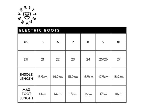 Pretty Baby Electric Boots Size Guide at Little Soldiers