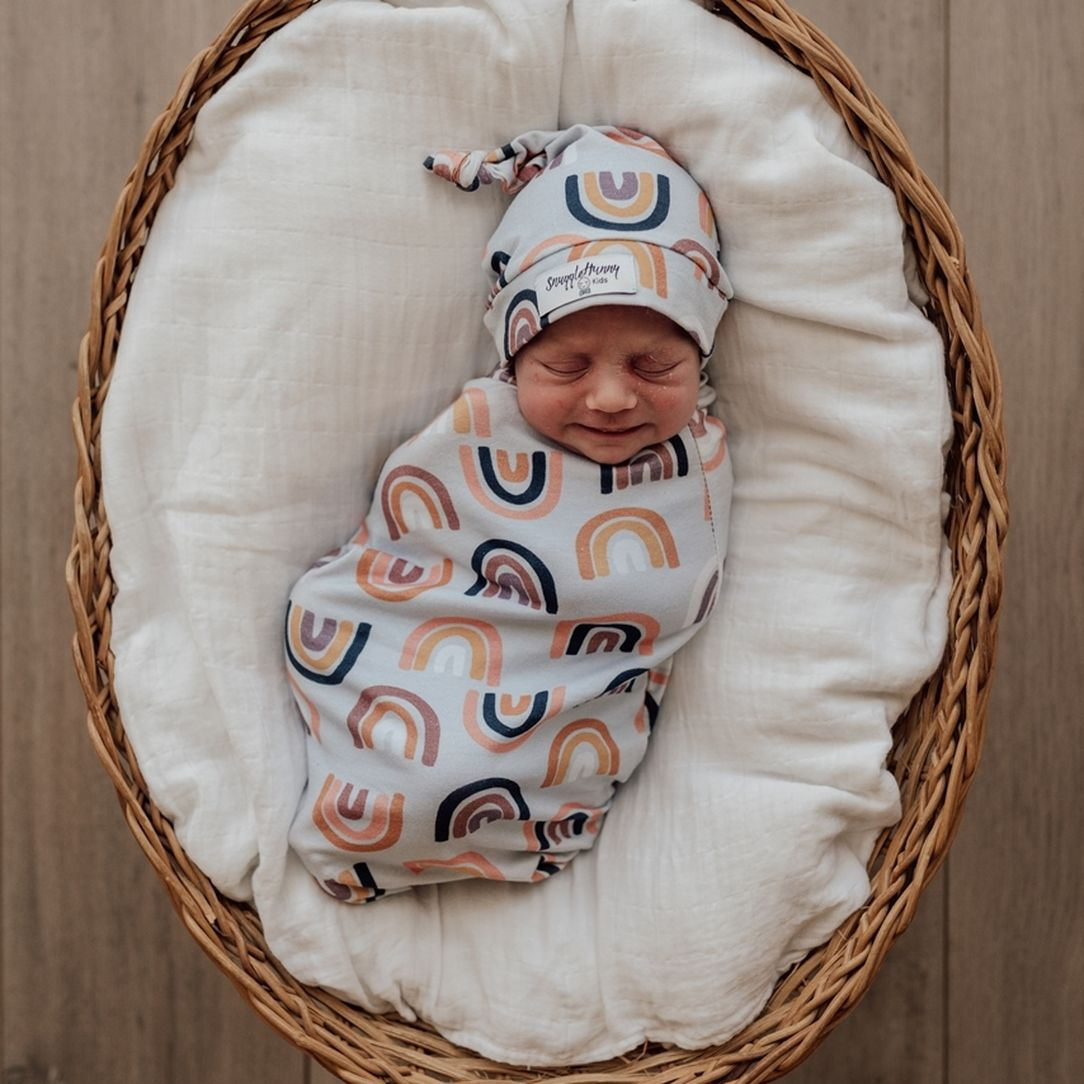 Snuggle Swaddle & Beanie Set - Sunset Rainbow-Swaddles & Wraps-Snuggle Hunny Kids-Little Soldiers