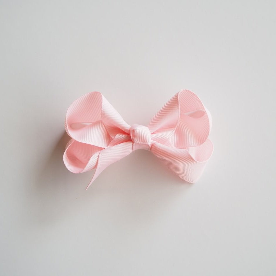 Light Pink Clip Bow - Medium-Hair Clips-Snuggle Hunny Kids-Little Soldiers