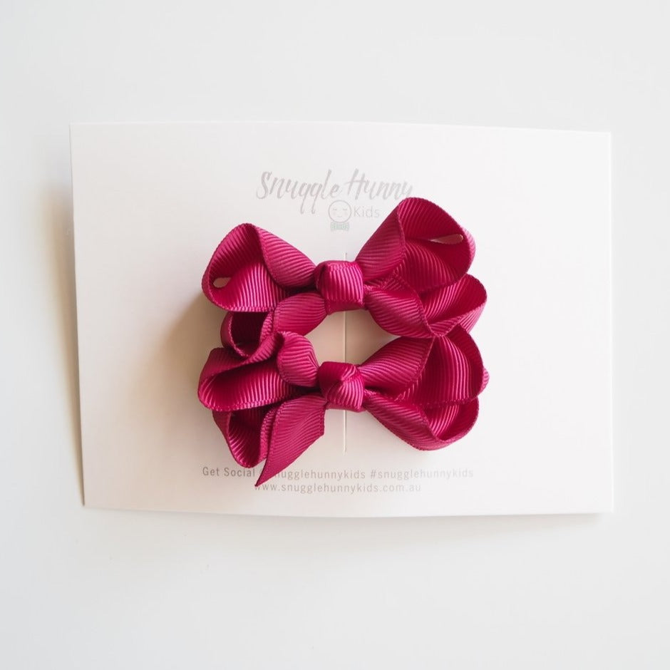 Burgundy Wine Clip Bow - Small Piggy Tail Pair-Hair Clips-Snuggle Hunny Kids-Little Soldiers
