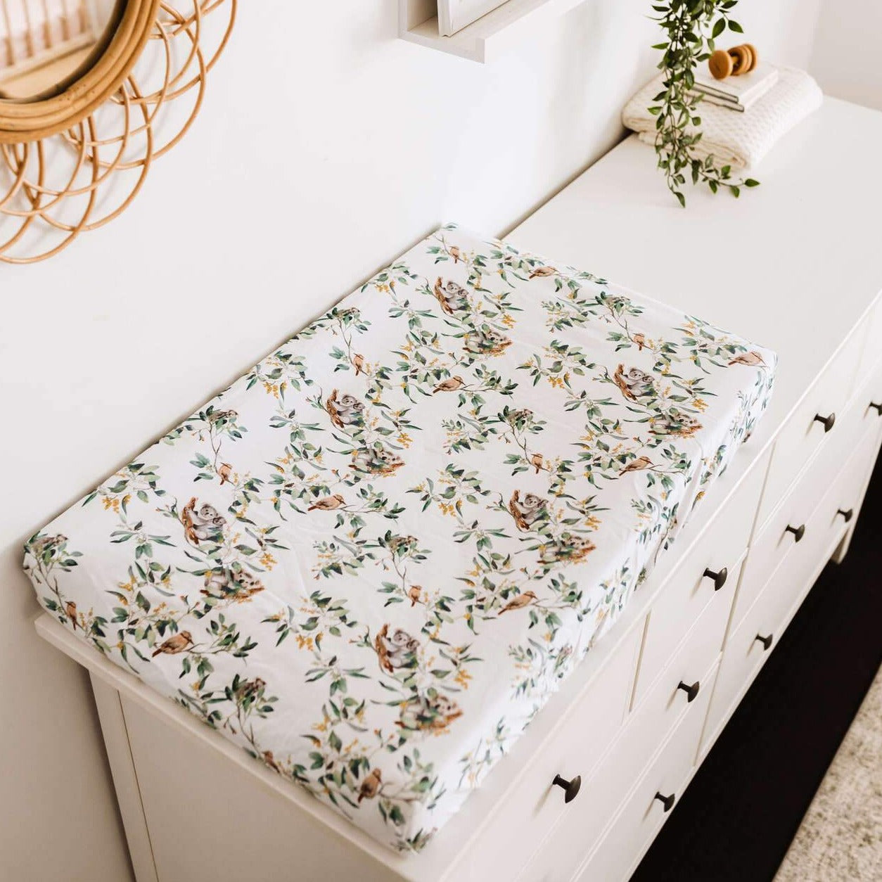 Bassinet Sheet Change Pad Cover - Eucalypt-Bassinet Sheets-Snuggle Hunny Kids-Little Soldiers