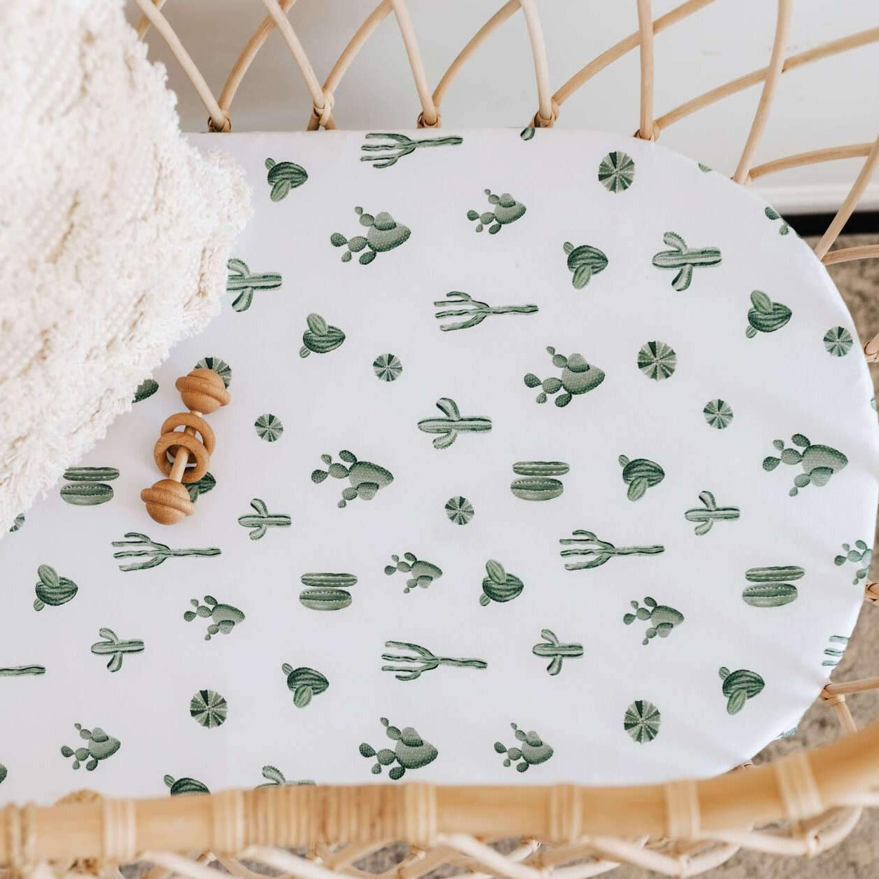 Bassinet Sheet / Change Pad Cover - Cactus-Bassinet Sheets-Snuggle Hunny Kids-Little Soldiers