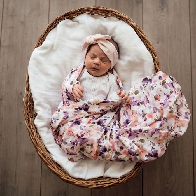 Organic Muslin Wrap - Blushing Beauty-Swaddles & Wraps-Snuggle Hunny Kids-Little Soldiers