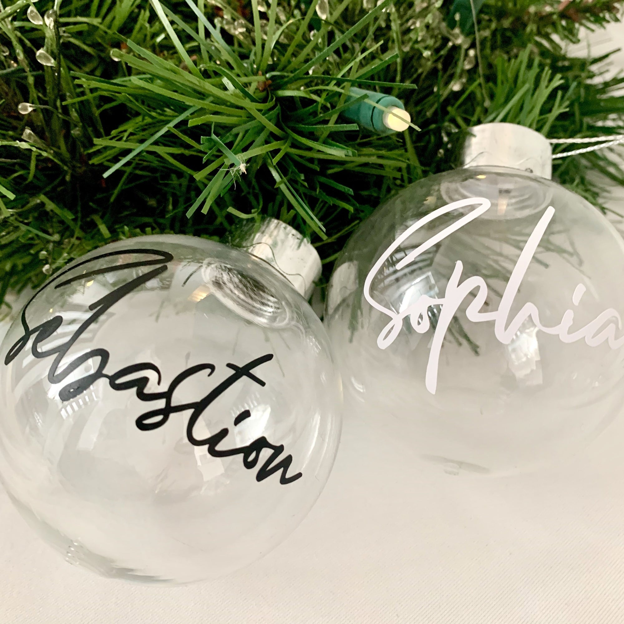 Personalised Christmas Bauble-Baubles-Cherub & Me-Cursive 1-White-Little Soldiers