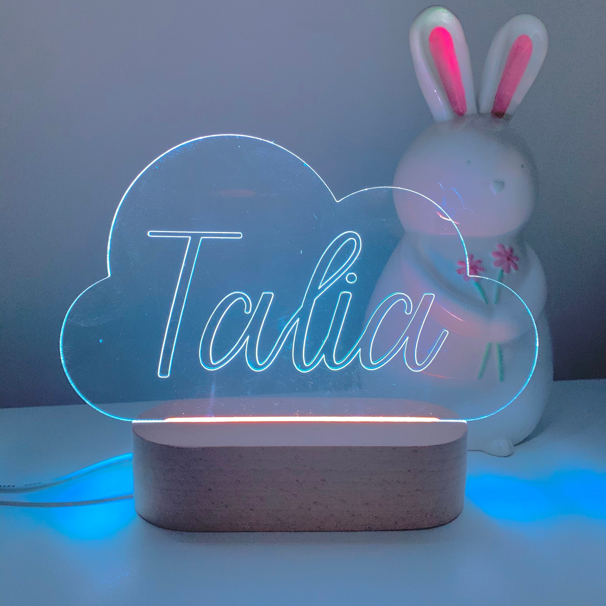 Personalised Engraved Cloud Night Light-Nursery Decor-Cherub & Me-Multiple RGB PREORDER-Cursive-Little Soldiers