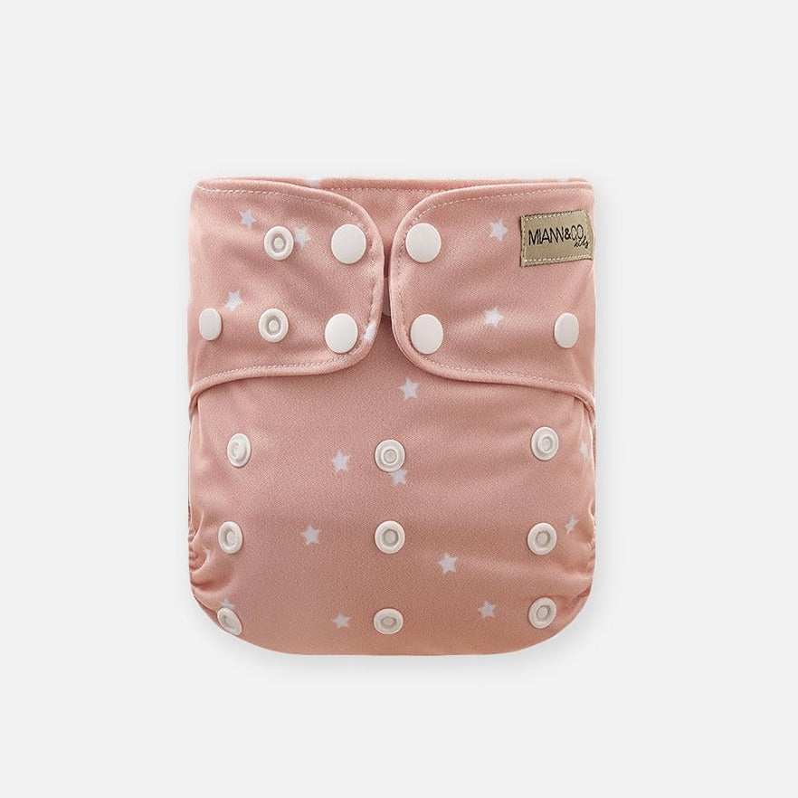 Reusable Cloth Nappy - Rosewater Star-Cloth Nappies-Miann & Co-Little Soldiers