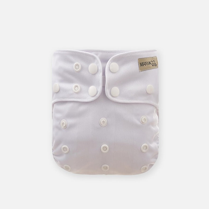 Reusable Cloth Nappy - Optic White-Cloth Nappies-Miann & Co-Little Soldiers