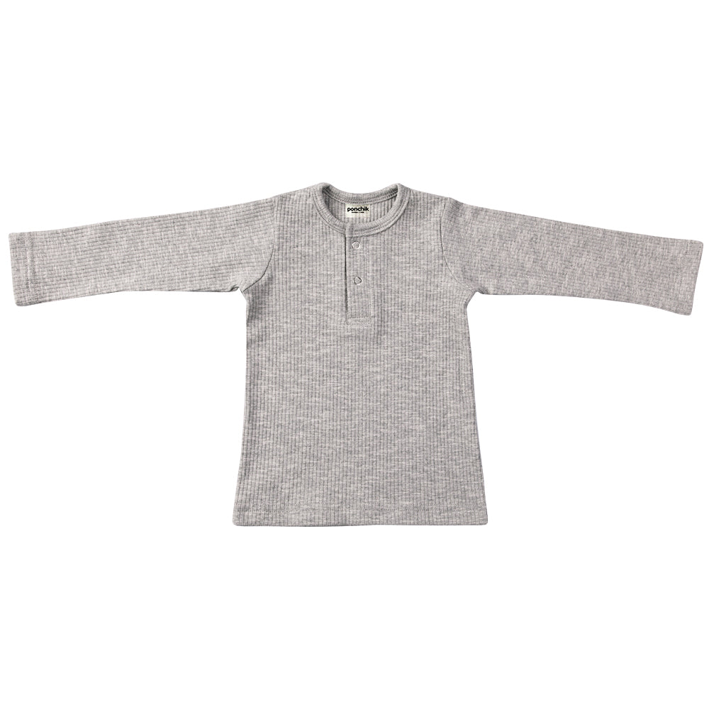 Cotton Ribbed Henley - Cloud-Baby Tops-Ponchik Kids-0-3m-Little Soldiers