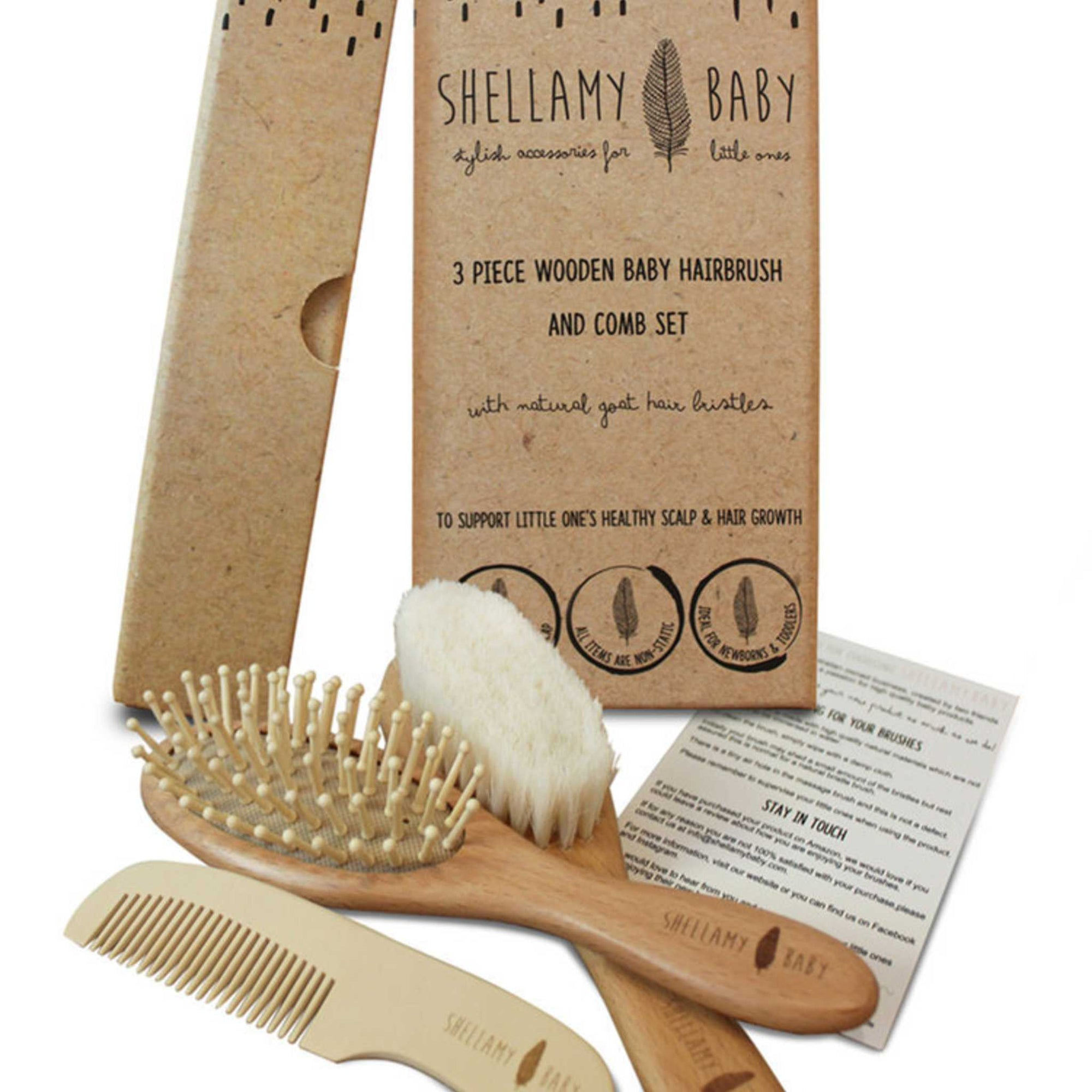 3 Piece Wooden Baby Hairbrush and Comb Set-Accessories-Shellamy Baby-Little Soldiers