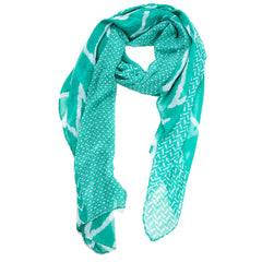 Chevron Mix Scarf--Teal