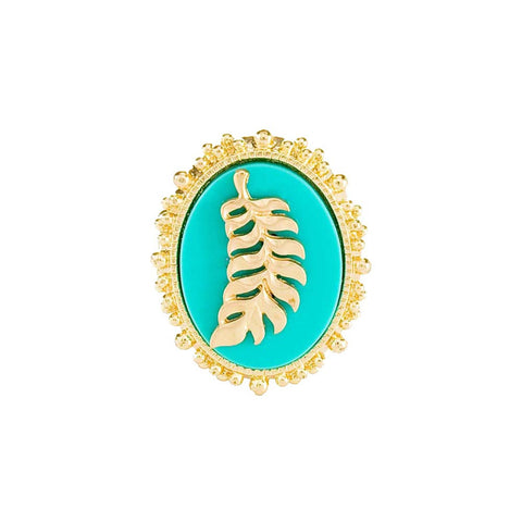 Feather Cameo Ring - Turquoise