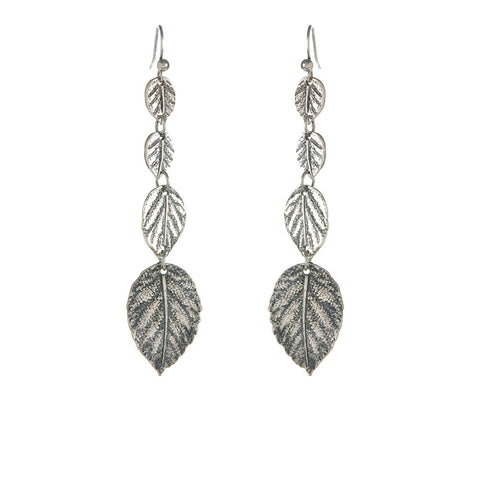 Leaf Drop Earrings - Antique Silver