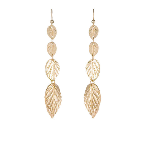Leaf Drop Earrings - Antique Gold