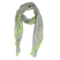 Bright n Stripe Scarf--Grey/Fluorescent Yellow