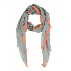 Bright n Stripe Scarf--Grey/Orange