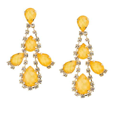 Rocks and Drops Earrings-Yellow