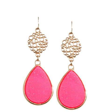 Hot Pink Druzy Earrings