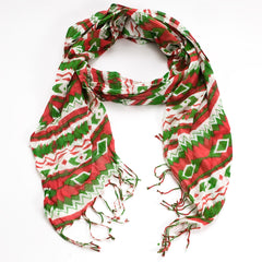 Aztec Print Scarf - Red/Green/White