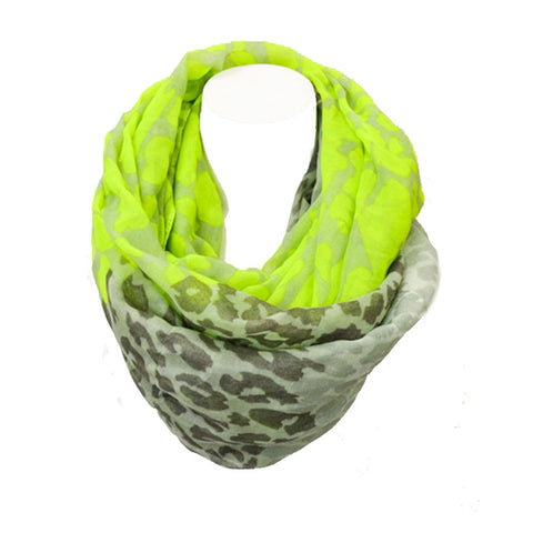 Loop of Leopard Cowl Infinity Scarf-Neon Yellow