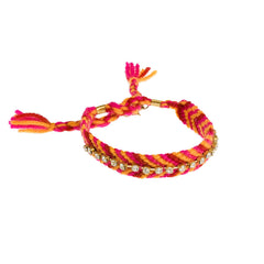 Frankie Rae Friendship Bracelet--Fuchsia/Orange