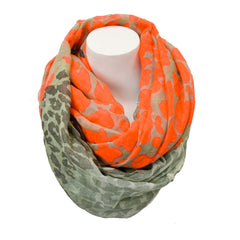 Loop of Leopard Cowl Infinity Scarf-Bright Coral
