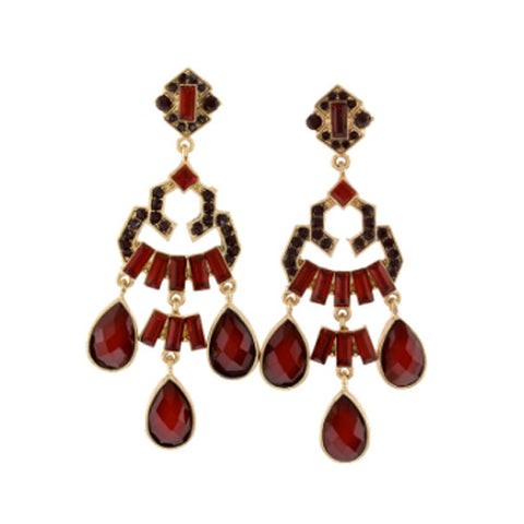 Crystal Glam Earrings-Garnet
