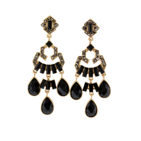 Crystal Glam Earrings-Black