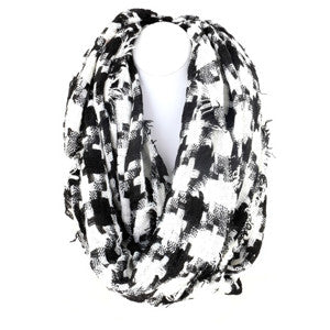Graphic Check Infinity Scarf
