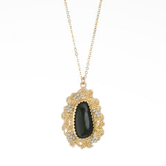 Coraline Floral Necklace--Jet Black