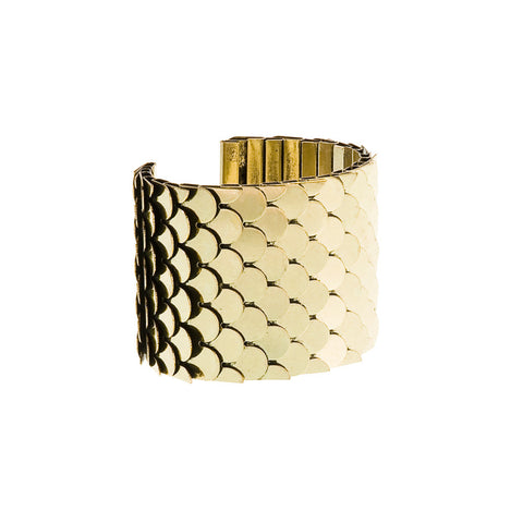 Go Fish! Metal Scale Cuff Bracelet--Antiqued Gold