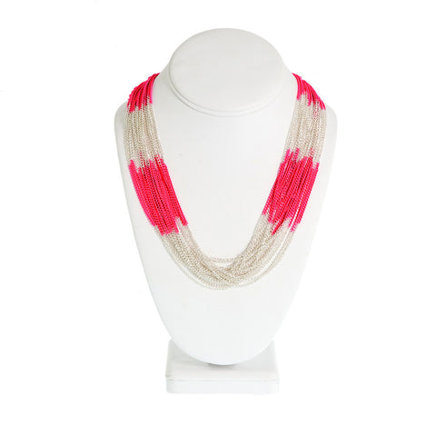Electra Necklace-- Pink/Silver