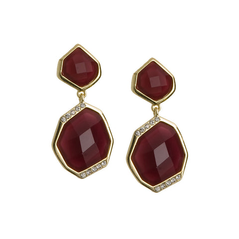 Double Drop Earrings-Burgundy