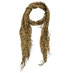 Sparrow Print Scarf - Brown/Beige