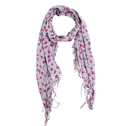 Sparrow Print Scarf - Gray/Pink