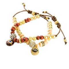 Wood Bead and Eye Charm Bracelet
